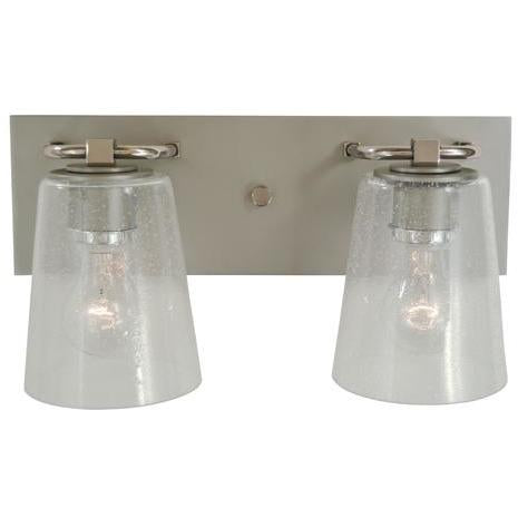 Framburg Wall Sconces Satin Pewter with Polished Nickel 2-Light Satin Pewter/Polished Nickel/Clear Seedy Glass Mercer Bath Sconce by Framburg 4852