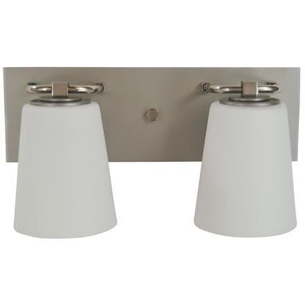 Framburg Wall Sconces Satin Pewter with Polished Nickel 2-Light Satin Pewter/Polished Nickel/White Glass Mercer Bath Sconce by Framburg 4852