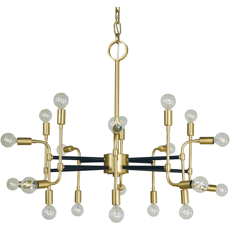 Framburg Foyer Chandeliers Satin Brass with Matte Black Accents 20-Light Satin Brass/Matte Black Fusion Chandelier by Framburg 3050