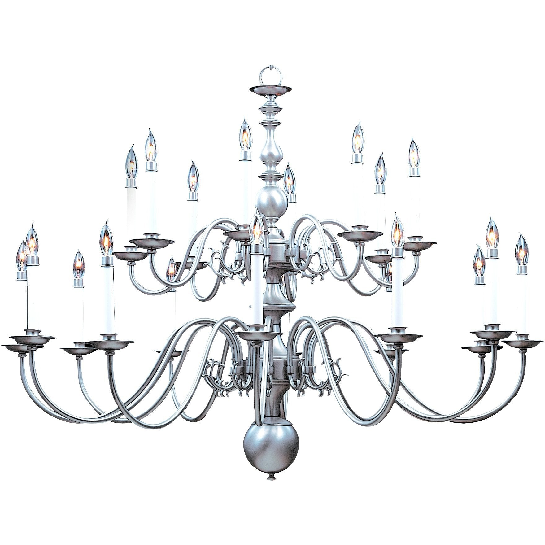 Framburg Foyer Chandeliers Satin Pewter 20-Light Satin Pewter Jamestown Foyer Chandelier by Framburg 9138