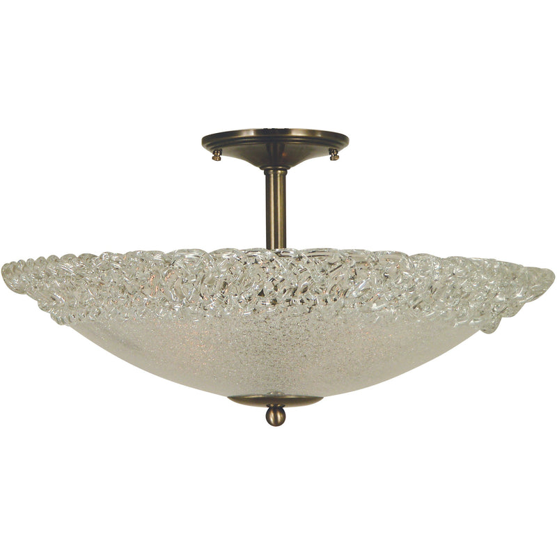 "Framburg Flush/Semi Flush Mounts Antique Brass 3-Light Antique Brass Brocatto 19"" Semiflush by Framburg 4672"