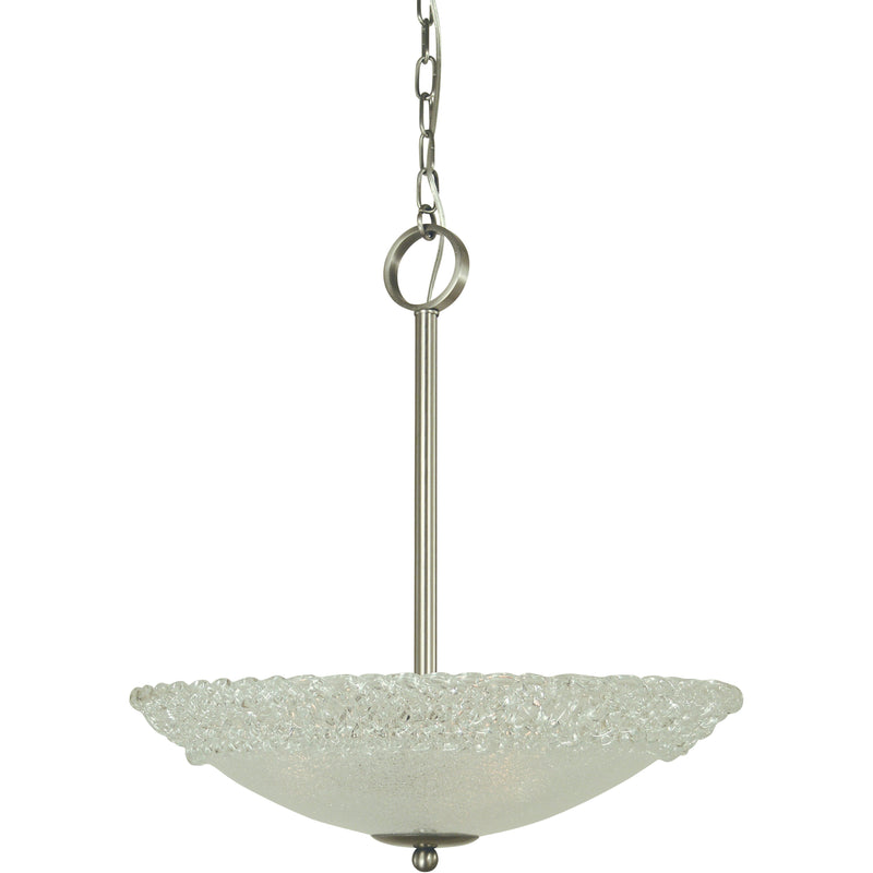 "Framburg Chandeliers Brushed Nickel 3-Light Brushed Nickel Brocatto 19"" Pendant by Framburg 4673"