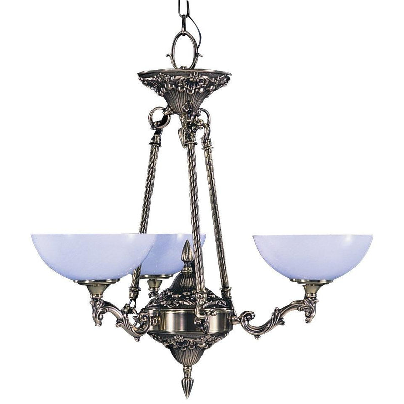 Framburg Chandeliers French Brass 3-Light French Brass Napoleonic Dinette Chandelier by Framburg 8403