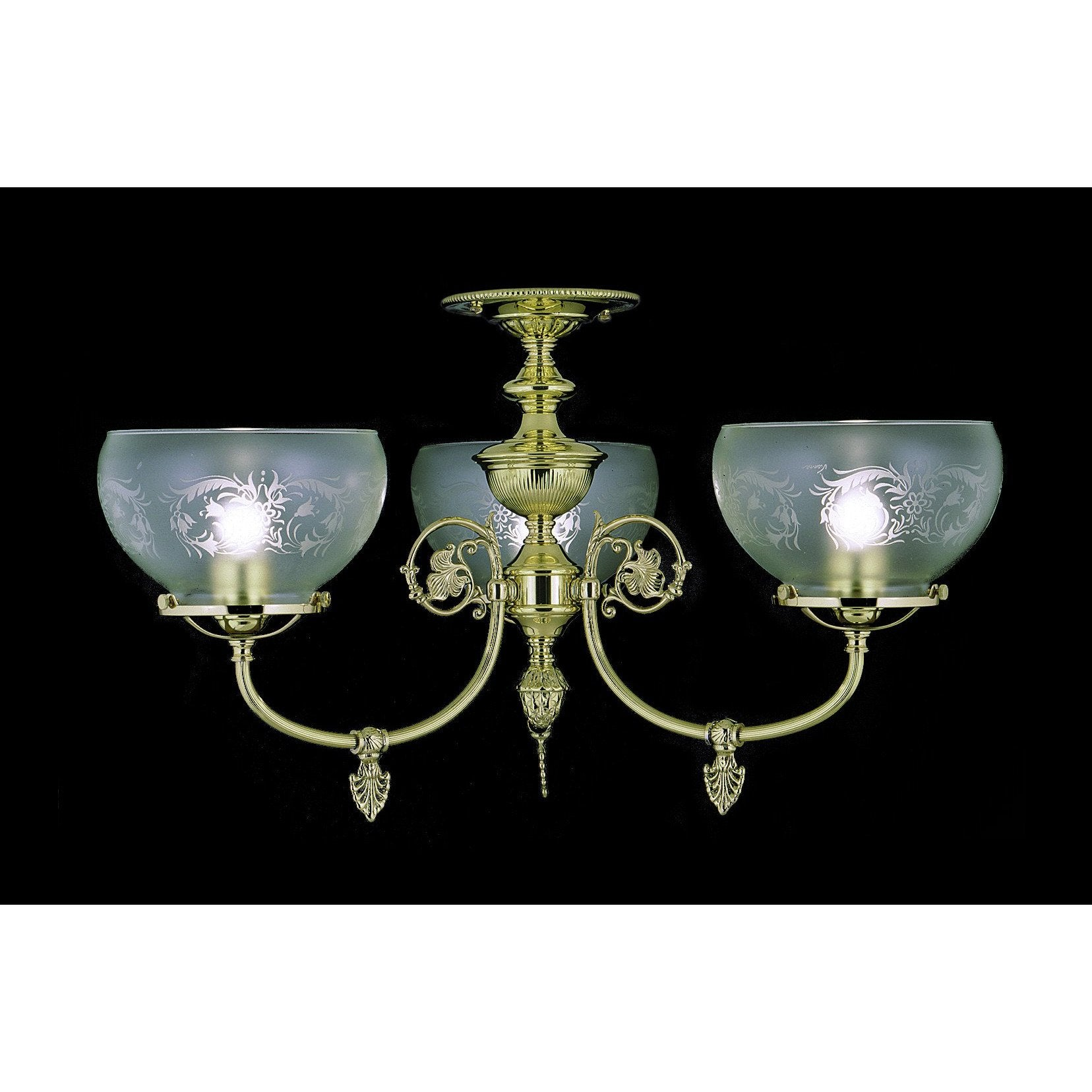 Framburg Flush & Semi Flush Mounts Polished Brass 3-Light Polished Brass Chancery Flush / Semi-Flush Mount by Framburg 7523