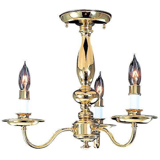 Framburg Flush & Semi Flush Mounts Polished Brass 3-Light Polished Brass Jamestown Flush / Semi-Flush Mount by Framburg 9133