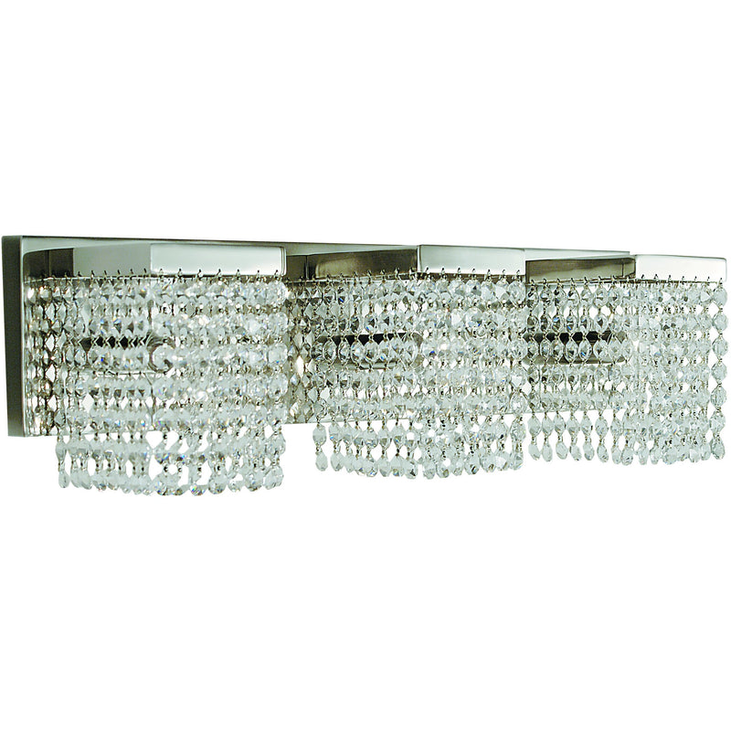 Framburg Wall Sconces Polished Silver with Clear Crystal 3-Light Polished Silver Gemini Sconce by Framburg 1993