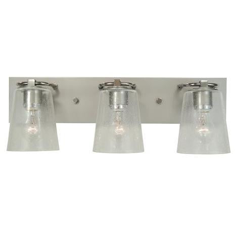 Framburg Wall Sconces Satin Pewter with Polished Nickel 3-Light Satin Pewter/Polished Nickel/Clear Seedy Glass Mercer Bath Sconce by Framburg 4853
