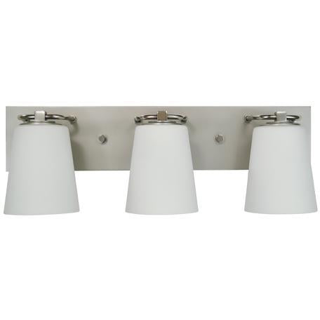 Framburg Wall Sconces Satin Pewter with Polished Nickel 3-Light Satin Pewter/Polished Nickel/White Glass Mercer Bath Sconce by Framburg 4853