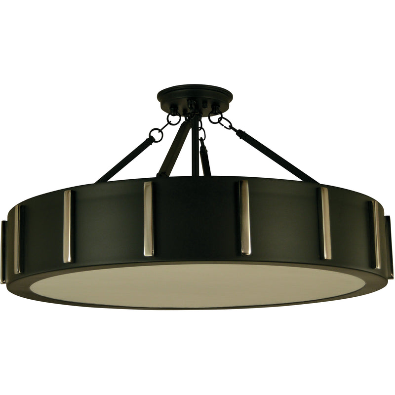 "Framburg Flush & Semi Flush Mounts Matte Black with Polished Nickel 4-Light 23"" Matte Black/Polished Nickel Pantheon Flush Mount by Framburg 4596"