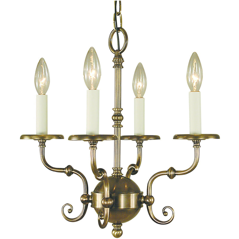 Framburg Mini Chandeliers Antique Brass 4-Light Antique Brass Jamestown Mini Chandelier by Framburg 2374