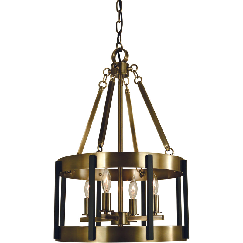 Framburg Mini Chandeliers Antique Brass with Matte Black 4-Light Antique Brass/Matte Black Pantheon Pendant by Framburg 4664