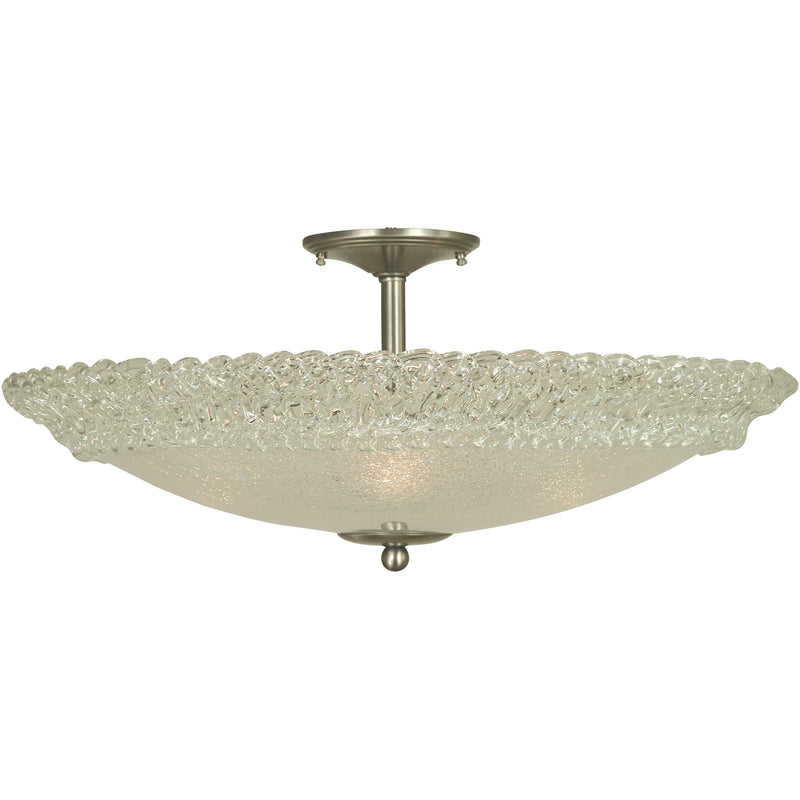 "Framburg Flush & Semi Flush Mounts Brushed Nickel 4-Light Brushed Nickel Brocatto 24"" Semiflush by Framburg 4674"