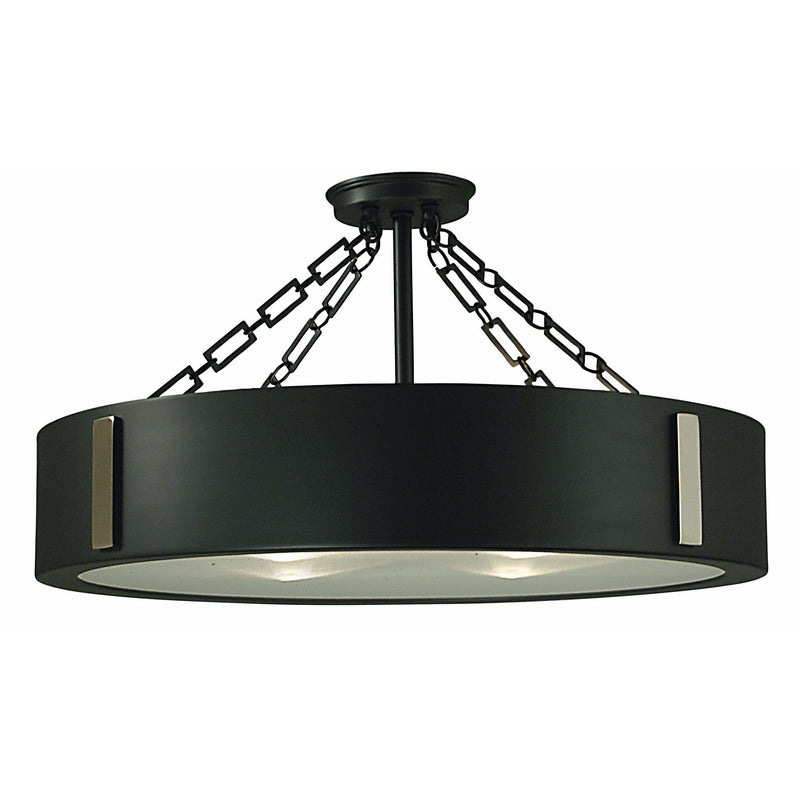 Framburg Flush & Semi Flush Mounts Charcoal with Polished Nickel Accents 4-Light Charcoal/Polished Nickel Oracle Flush / Semi-Flush Mount by Framburg 2412