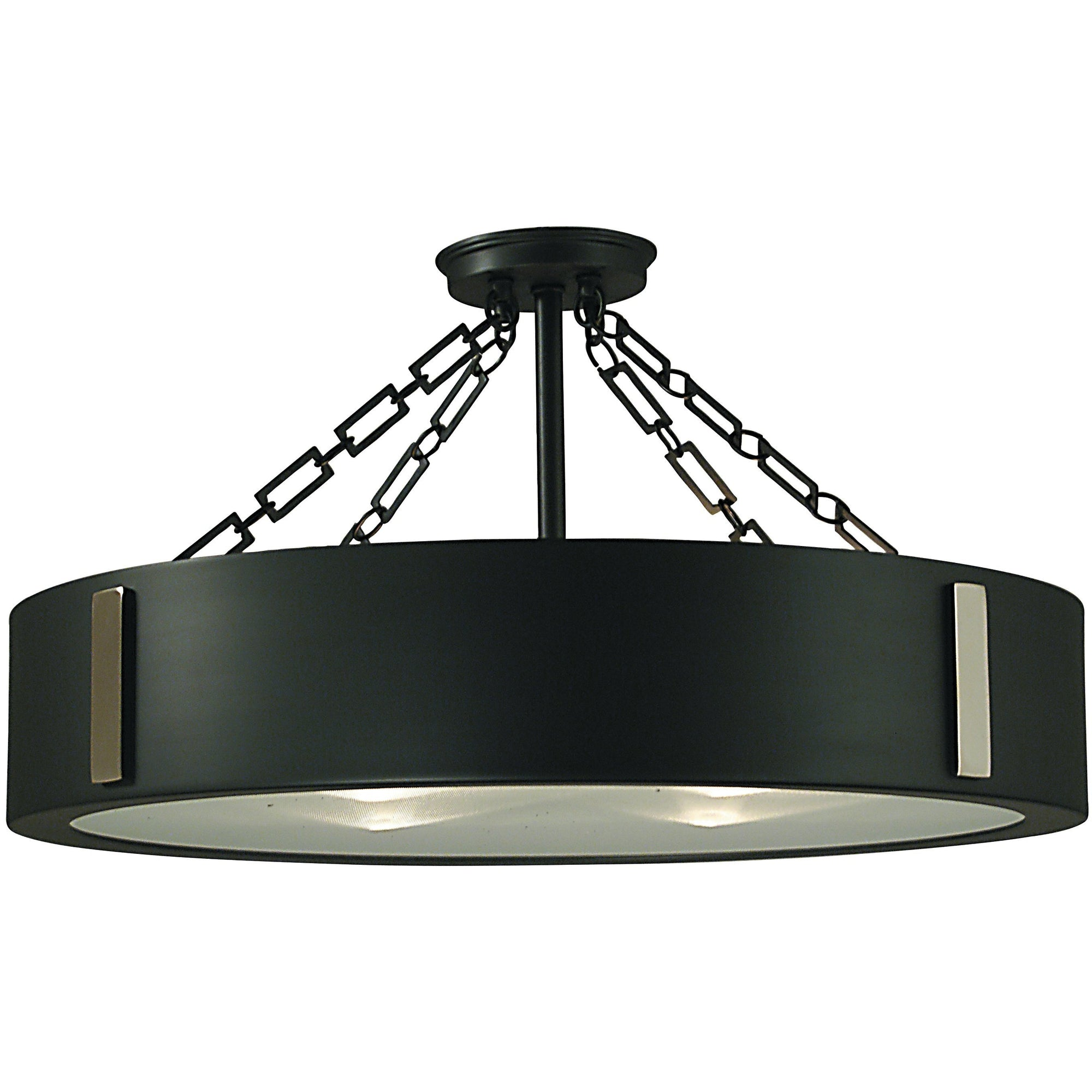 Framburg Flush & Semi Flush Mounts Charcoal with Polished Nickel Accents 4-Light Charcoal/Polished Nickel Oracle Flush / Semi-Flush Mount by Framburg 2416