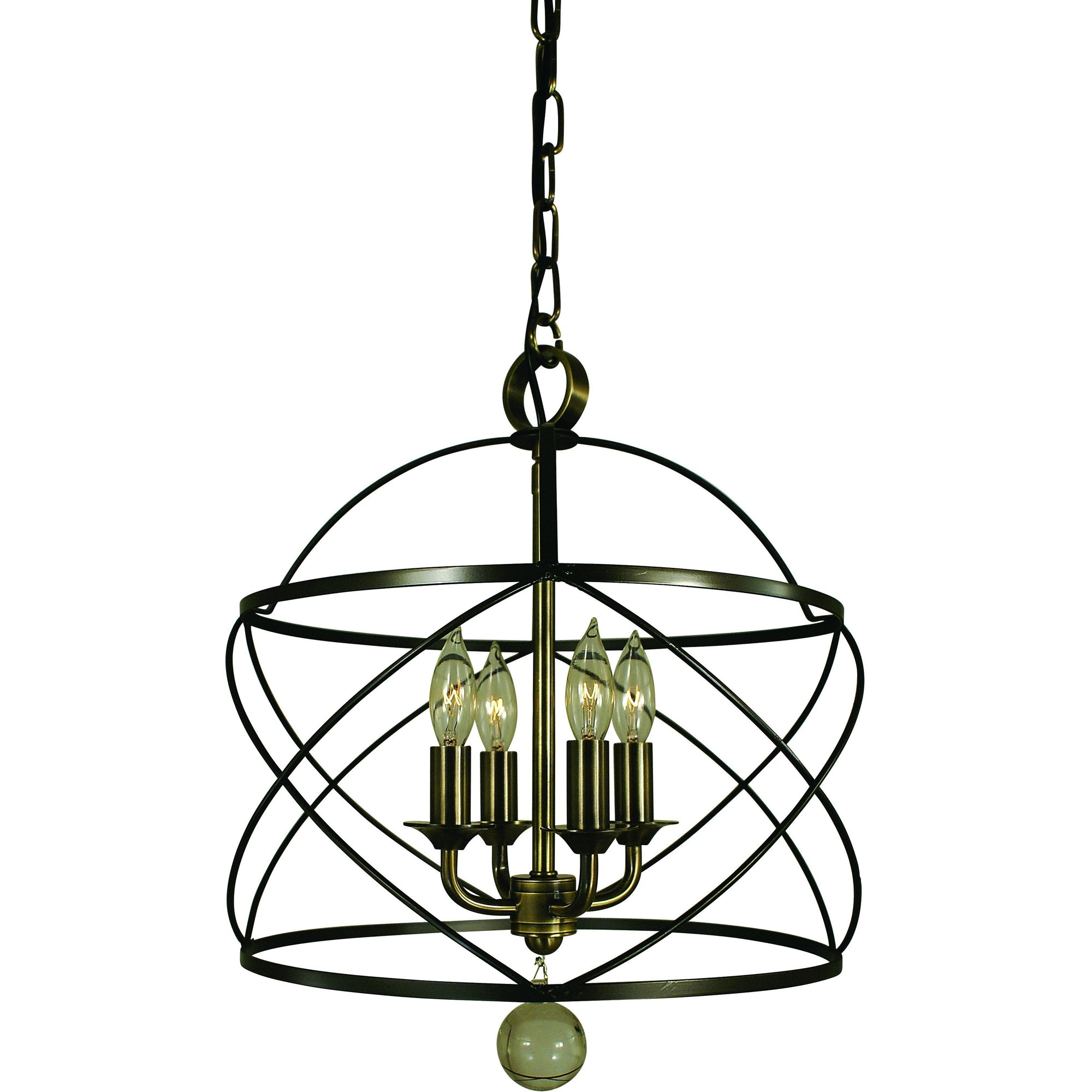 Framburg Mini Chandeliers Mahogany Bronze and Antique Brass 4-Light Mahogany Bronze/Antique Brass Nantucket Chandelier by Framburg 4414