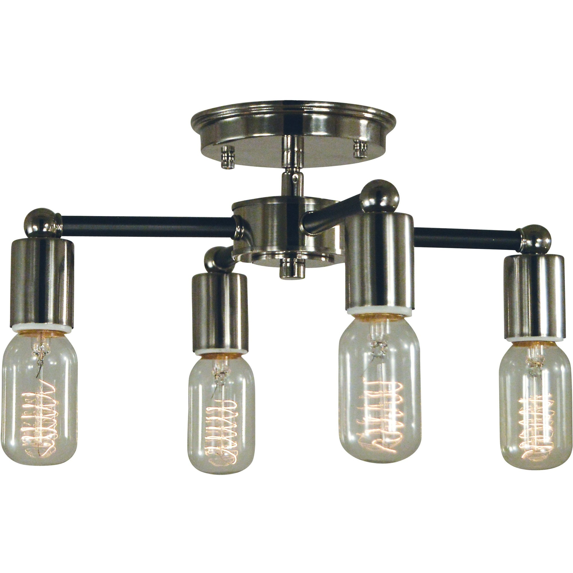 Framburg Flush & Semi Flush Mounts Polished Nickel with Matte Black Accents 4-Light Nebula Flush Mount/Semi Flush Mount by Framburg 5080