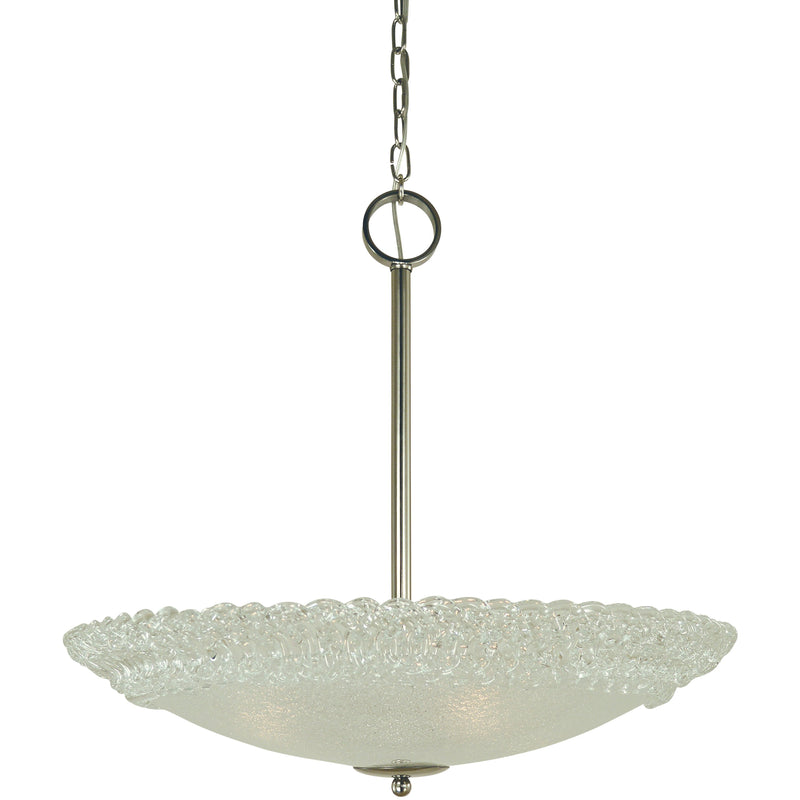 "Framburg Chandeliers Polished Nickel 4-Light Polished Nickel Brocatto 24"" Pendant by Framburg 4675"