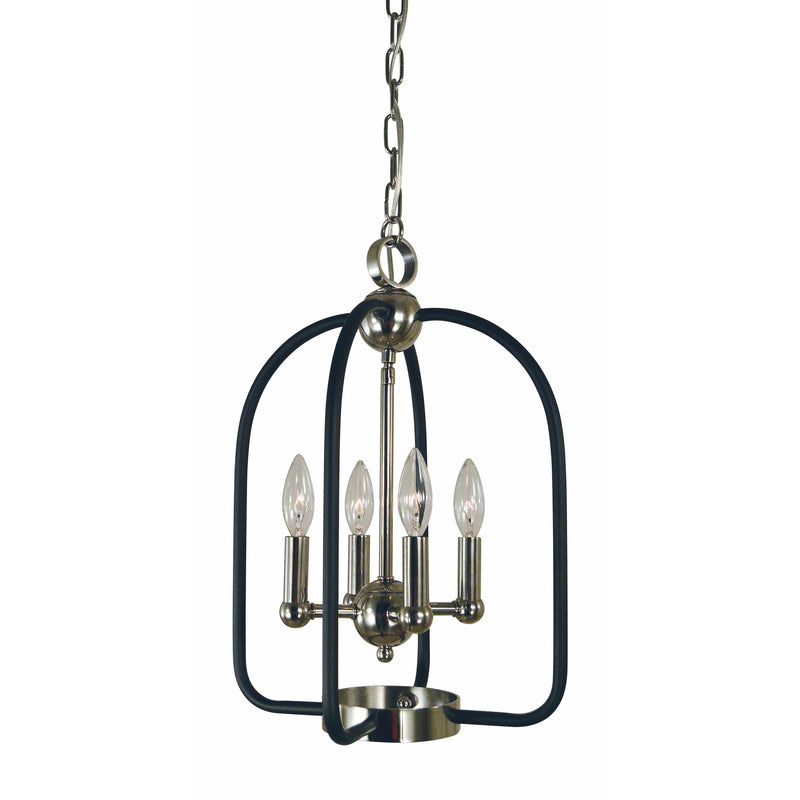 Framburg Chandeliers Polished Nickel with Matte Black Accents 4-Light Polished Nickel/Matte Black Boulevard Chandelier by Framburg 4934