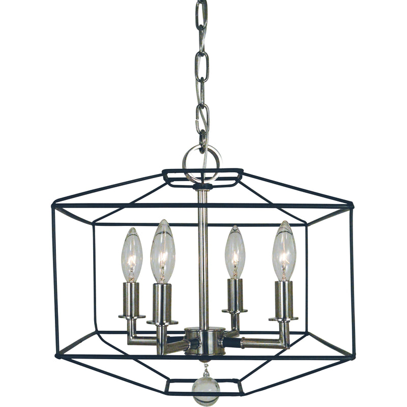 Framburg Dual Mounts Polished Nickel with Matte Black Accents 4-Light Polished Nickel/Matte Black Isabella Dual Mount Chandelier by Framburg 5304