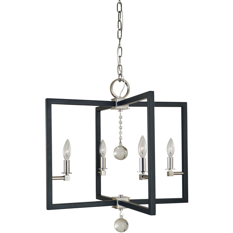 Framburg Chandeliers Polished Nickel/Matte Black 4-Light Polished Nickel/Matte Black Minimalist Elegant Dining Chandelier by Framburg 5364