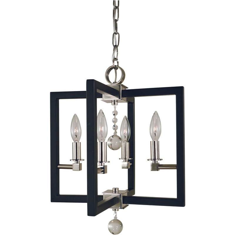 Framburg Dual Mounts Polished Nickel/Matte Black 4-Light Polished Nickel/Matte Black Minimalist Elegant Dual Mount Chandelier by Framburg 5362