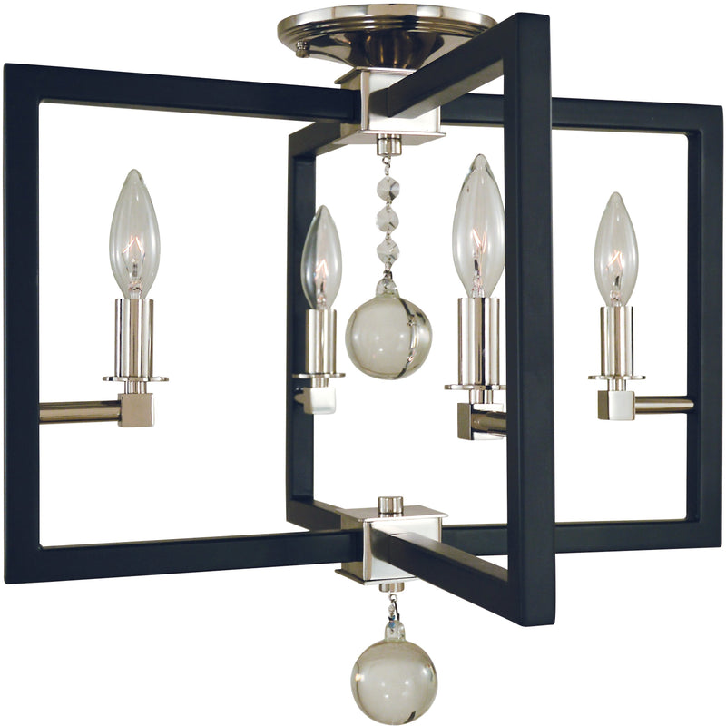 Framburg Flush & Semi Flush Mounts Polished Nickel/Matte Black 4-Light Polished Nickel/Matte Black Minimalist Elegant Flush / Semi-Flush Mount  by Framburg 5363