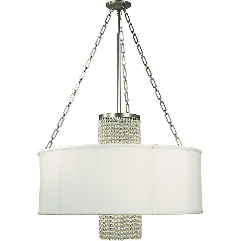 Framburg Chandeliers Polished Silver with White Sheer Shade 4-Light Polished Silver Angelique Dining Chandelier by Framburg 1958