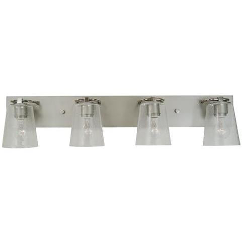 Framburg Wall Sconces Satin Pewter with Polished Nickel 4-Light Satin Pewter/Polished Nickel/Clear Seedy Glass Mercer Bath Sconce by Framburg 4854