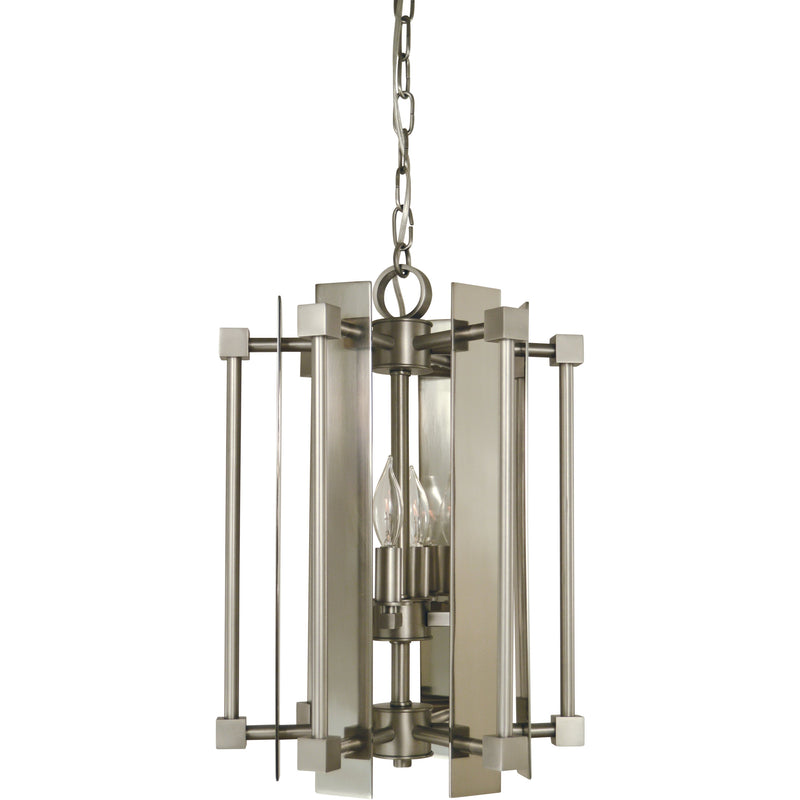 Framburg Mini Chandeliers Satin Pewter with Polished Nickel 4-Light Satin Pewter/Polished Nickel Louvre Chandelier by Framburg 4804