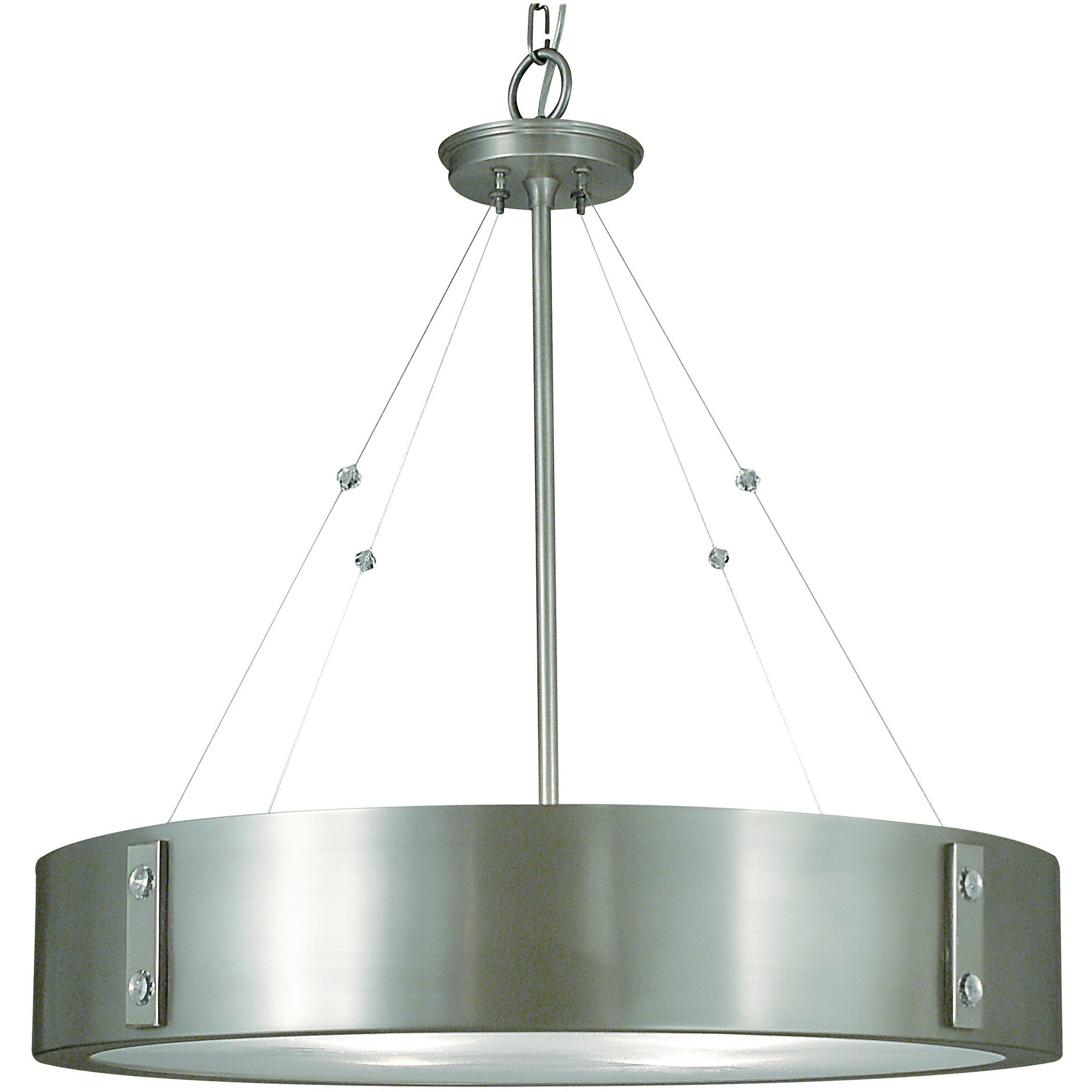 Framburg Chandeliers Satin Pewter with Polished Nickel Accents 4-Light Satin Pewter/Polished Nickel Oracle Dining Chandelier by Framburg 5395
