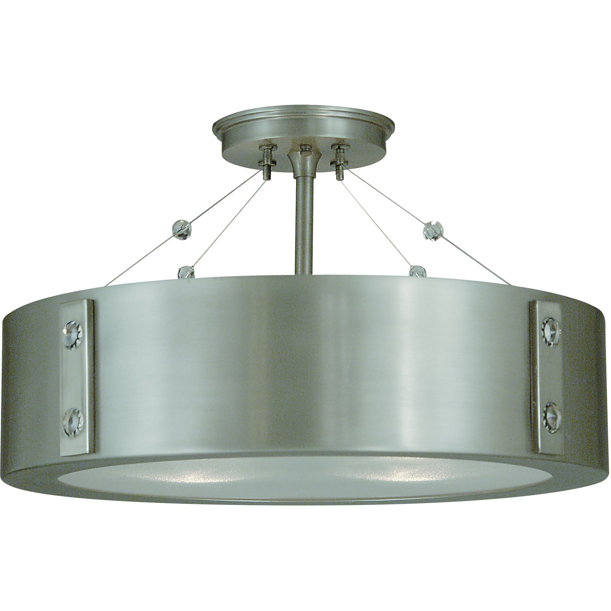Framburg Flush & Semi Flush Mounts Satin Pewter with Polished Nickel Accents 4-Light Satin Pewter/Polished Nickel Oracle Flush / Semi-Flush Mount by Framburg 5390
