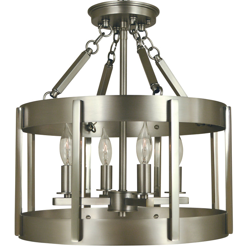 Framburg Flush & Semi Flush Mounts Satin Pewter with Polished Nickel 4-Light Satin Pewter/Polished Nickel Pantheon Semiflush by Framburg 4662