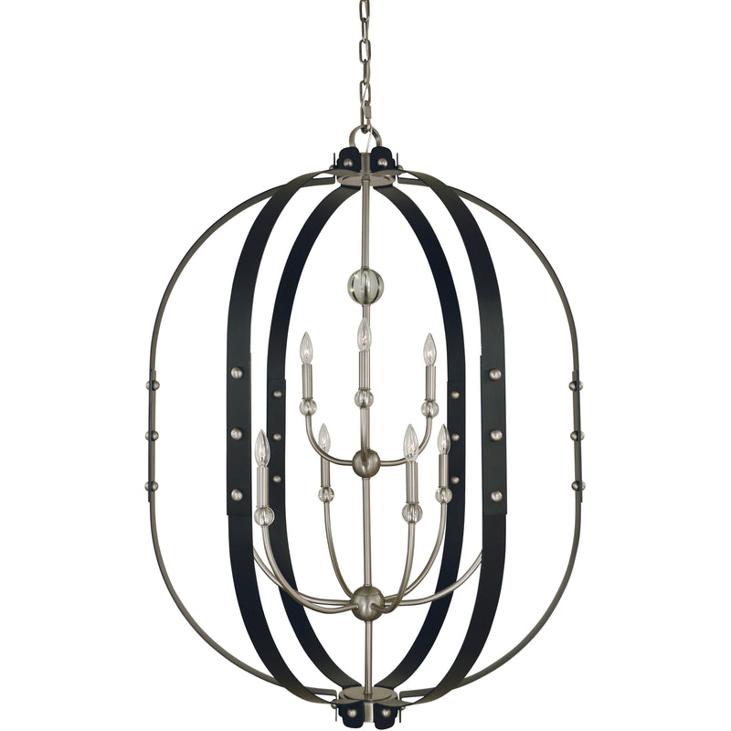 Framburg Foyer Chandeliers Brushed Nickel/Matte Black 5-Light Brushed Nickel/Matte Black Urban Craftsman Chandelier by Framburg 5319