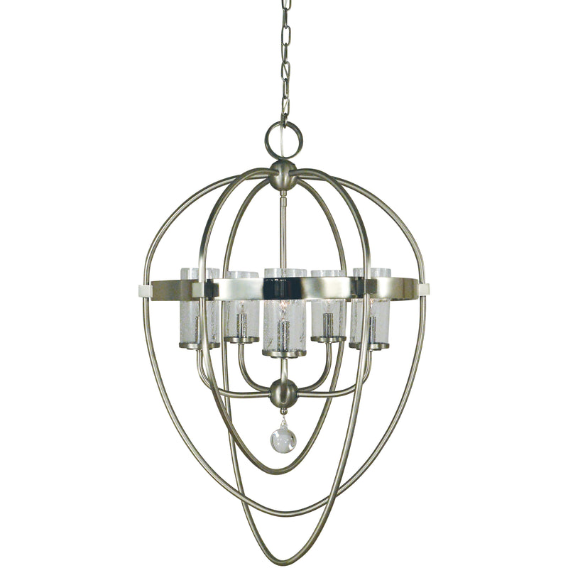 Framburg Foyer Chandeliers Brushed Nickel with Polished Nickel Accents 5-Light Brushed Nickel/Polished Nickel Margaux Chandelier by Framburg 3045