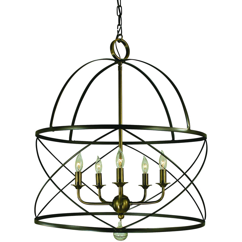 Framburg Chandeliers Mahogany Bronze and Antique Brass 5-Light Mahogany Bronze/Antique Brass Nantucket Chandelier by Framburg 4415