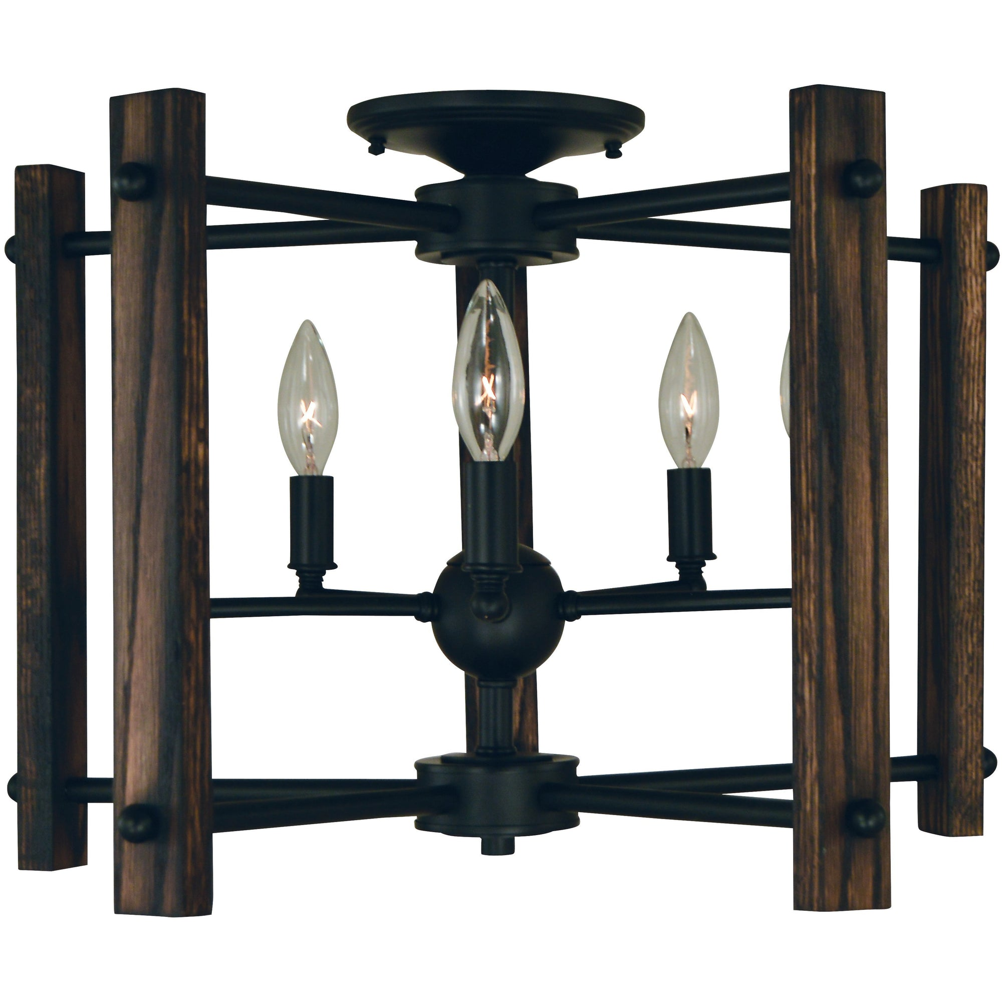 Framburg Flush & Semi Flush Mounts Matte Black 5-Light Matte Black Modern Farmhouse Flush / Semi-Flush Chandelier by Framburg 5401