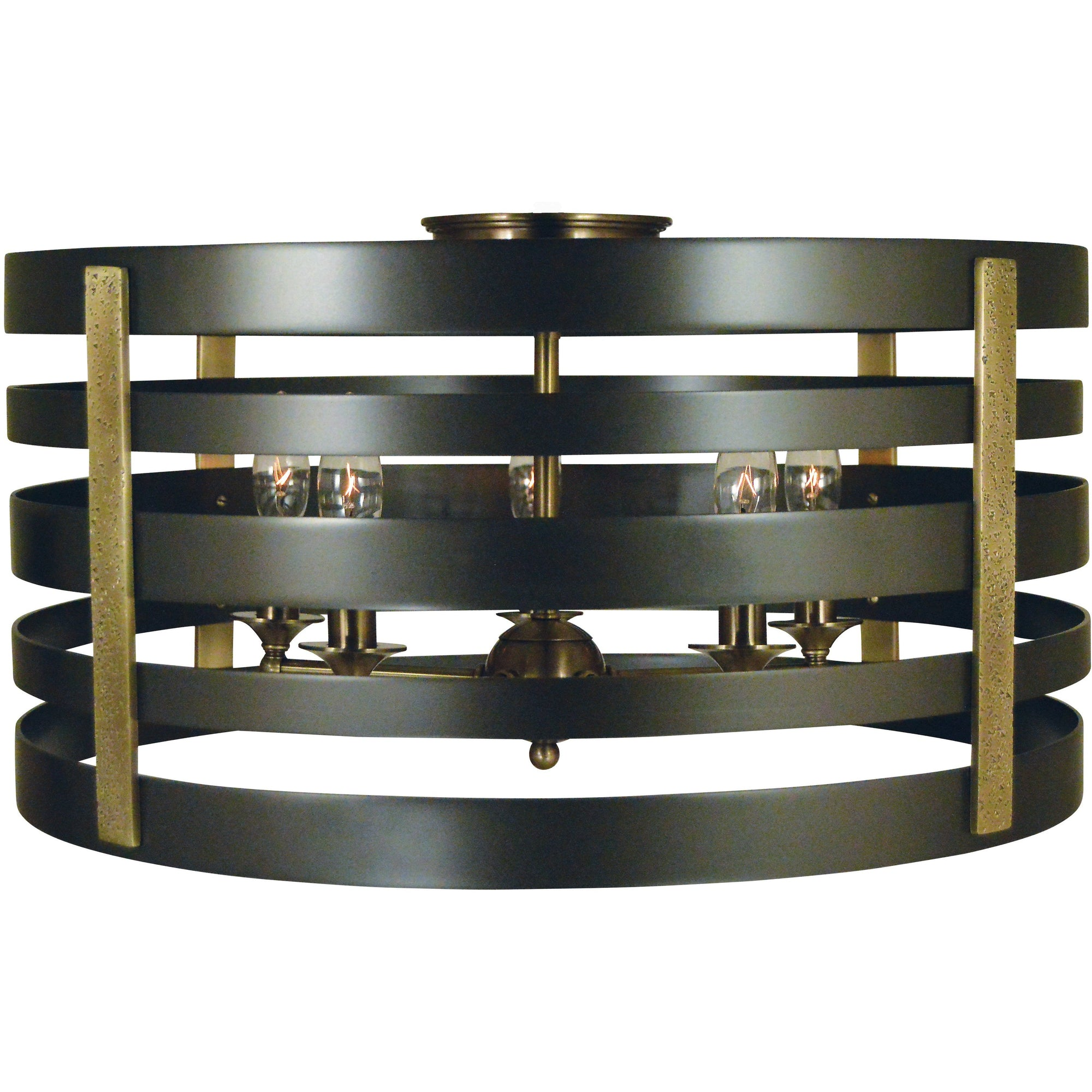 Framburg Flush/Semi Flush Mounts Mahogany Bronze with Antique Brass Accents 5-Light Pastoral Flush Mount/Semi Flush Mount by Framburg 5092