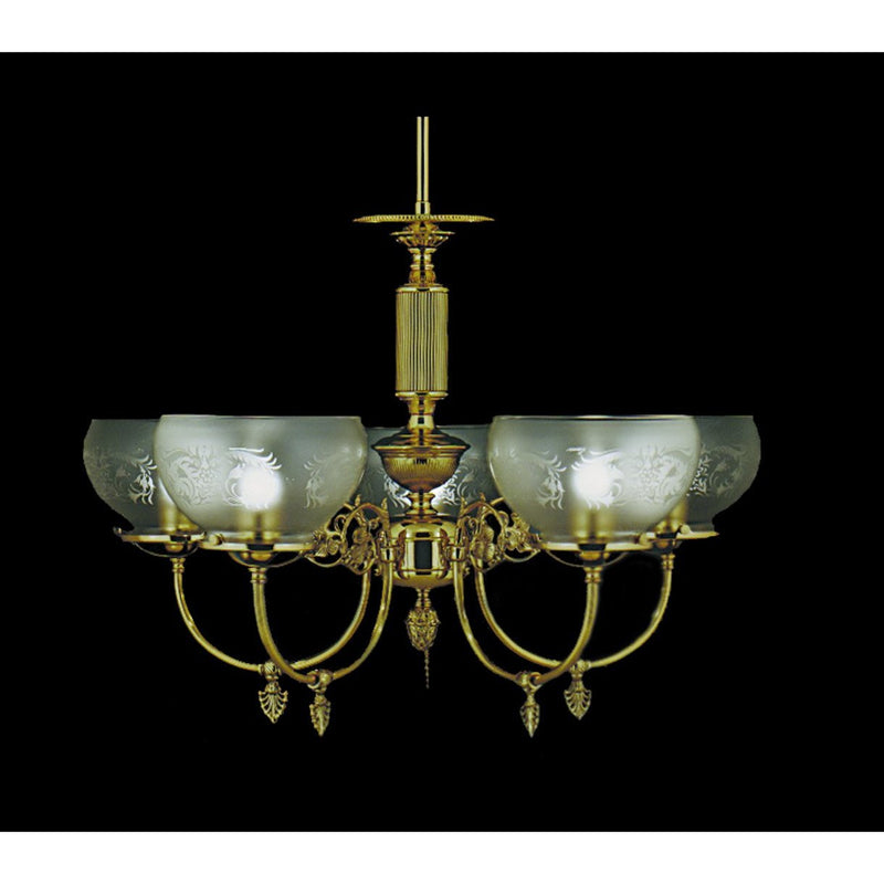 Framburg Chandeliers Polished Brass 5-Light Polished Brass Chancery Dining Chandelier by Framburg 7525