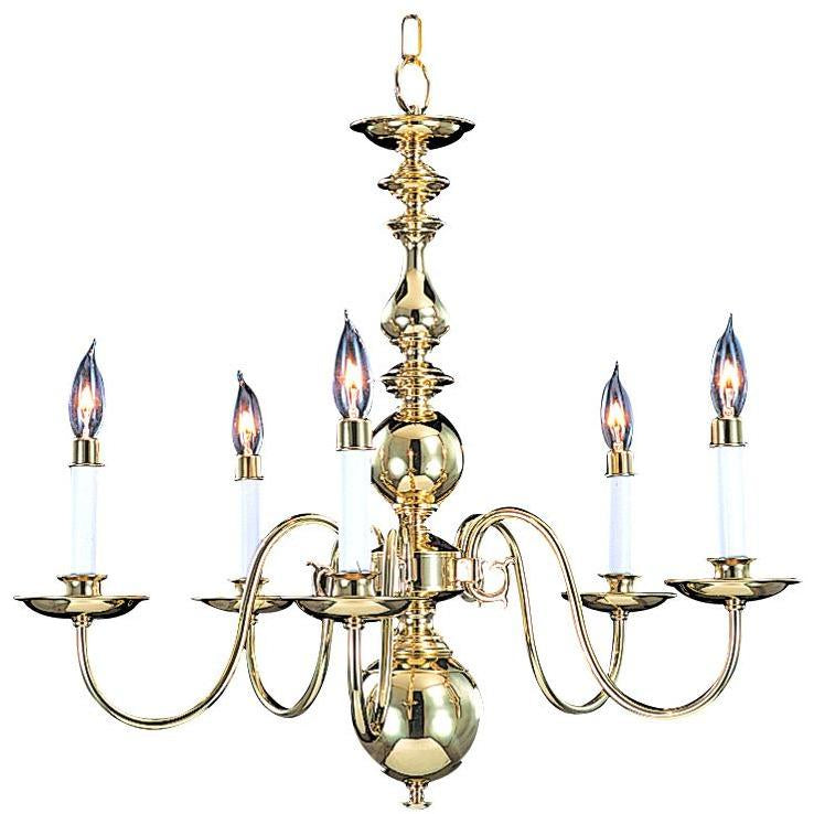 Framburg Chandeliers Polished Brass 5-Light Polished Brass Jamestown Dining Chandelier by Framburg 9126