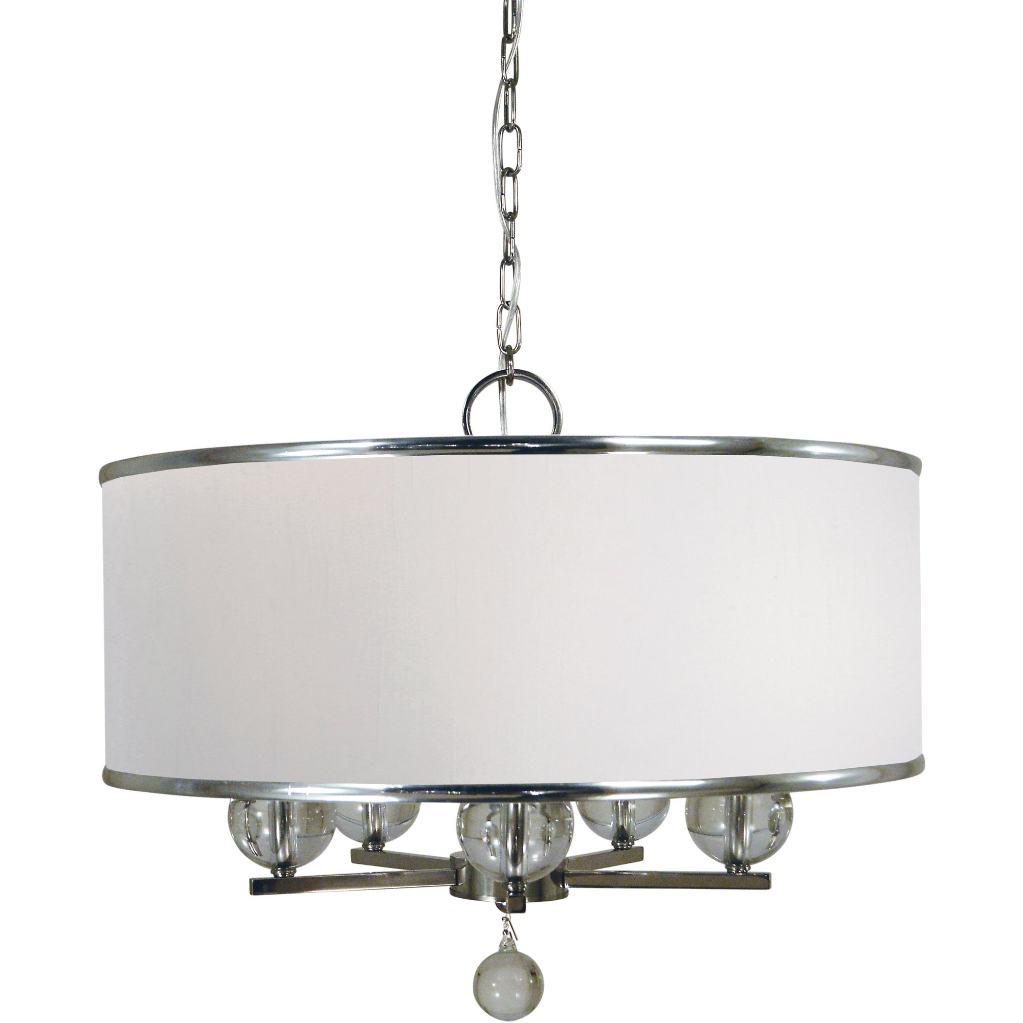 Framburg Chandeliers Polished Nickel 5-Light Polished Nickel Glamour Chandelier by Framburg 4998