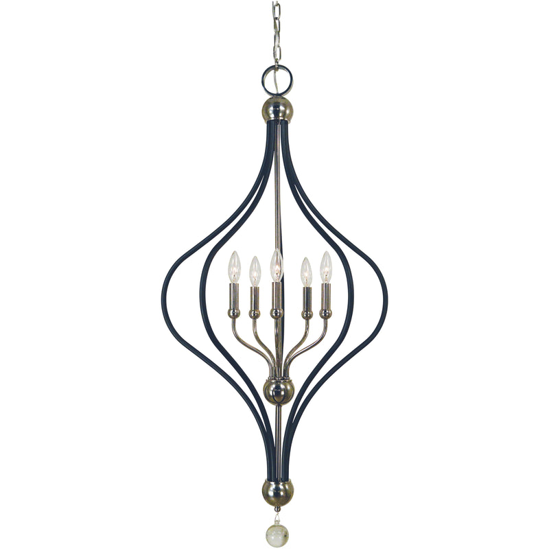 Framburg Chandeliers Polished Nickel with Matte Black Accents 5-Light Polished Nickel/Matte Black Boulevard Chandelier by Framburg 4950