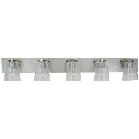 Framburg Wall Sconces Satin Pewter with Polished Nickel 5-Light Satin Pewter/Polished Nickel/Clear Seedy Glass Mercer Bath Sconce by Framburg 4855