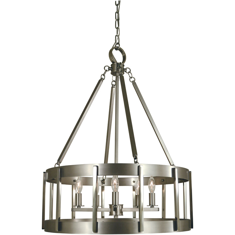 Framburg Chandeliers Satin Pewter with Polished Nickel 5-Light Satin Pewter/Polished Nickel Pantheon Pendant by Framburg 4665