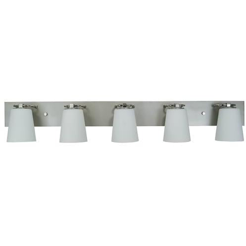 Framburg Wall Sconces Satin Pewter with Polished Nickel 5-Light Satin Pewter/Polished Nickel/White Glass Mercer Bath Sconce by Framburg 4855