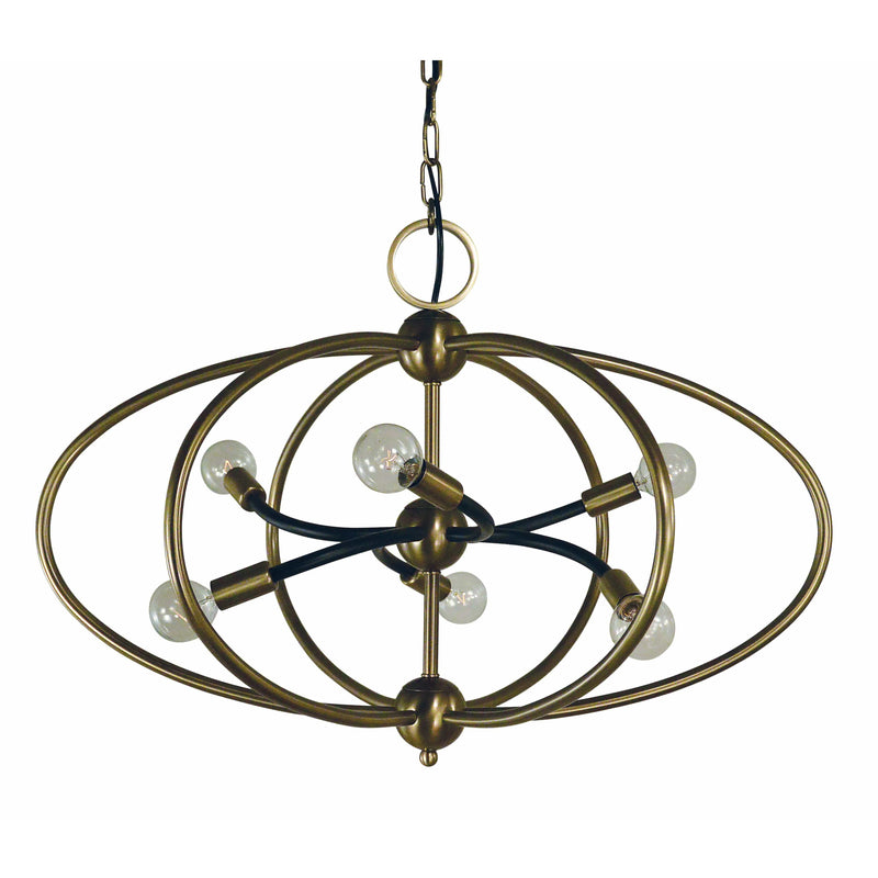Framburg Chandeliers Antique Brass with Matte Black Accents 6-Light Antique Brass/Matte Black Orbit Chandelier by Framburg 4948