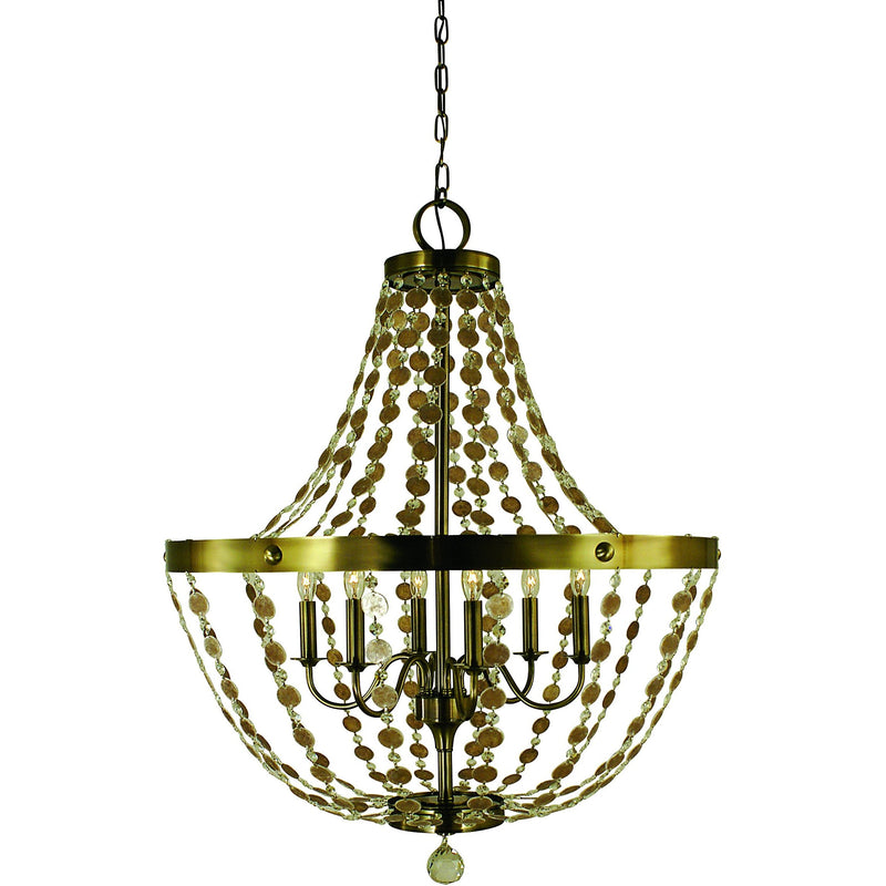 Framburg Foyer Chandeliers Antique Brass 6-Light Antique Brass Naomi Chandelier by Framburg 4486