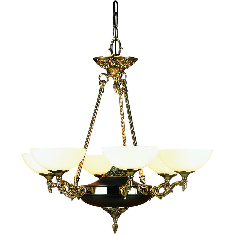 Framburg Chandeliers French Brass 6-Light French Brass Napoleonic Dining Chandelier by Framburg 8406