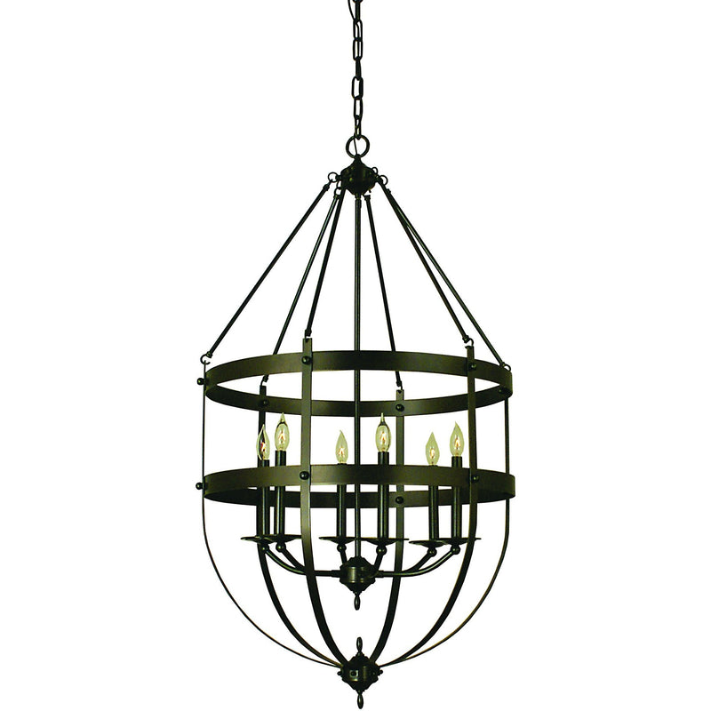 Framburg Foyer Chandeliers Mahogany Bronze 6-Light Mahogany Bronze Hannover Foyer Chandelier by Framburg 1018