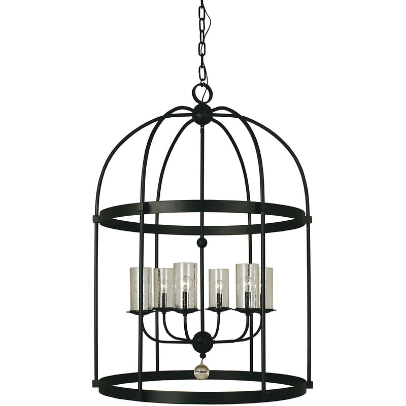Framburg Foyer Chandeliers Matte Black 6-Light Matte Black Compass Foyer Chandelier by Framburg 1106