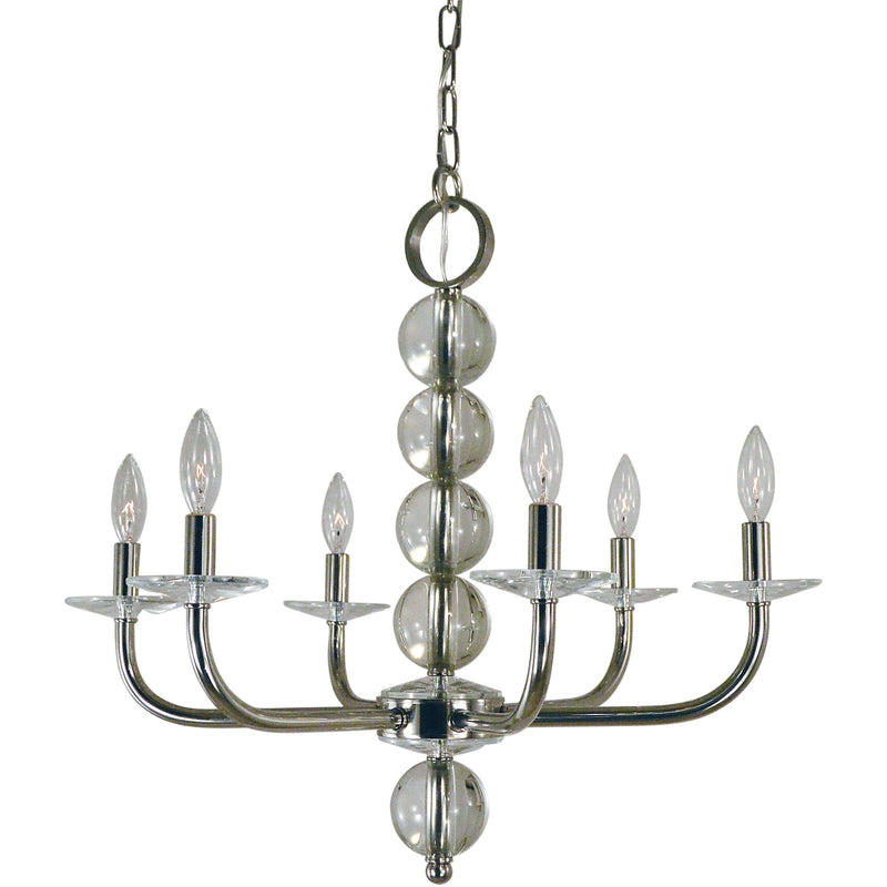 Framburg Chandeliers Polished Nickel 6-Light Polished Nickel Glamour Chandelier by Framburg 4966
